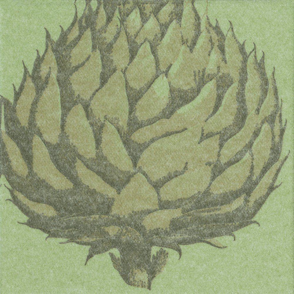 Entertaining with Caspari papier lniany wytrawiony karczoch, serwetka koktajlowa, opakowanie 15 sztuk, zielony, 12,7 x 12,7 x 3 cm