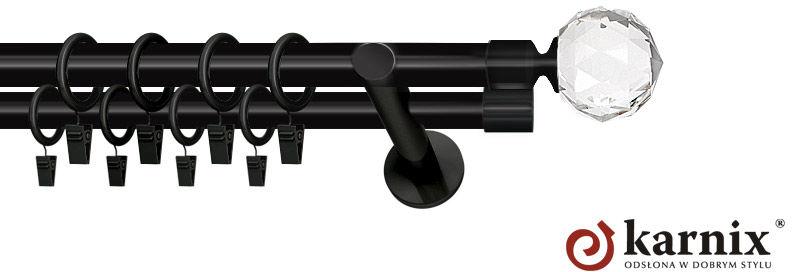 Karnisze nowoczesne NEO podwójny 19/19mm Beluna Crystal czarny