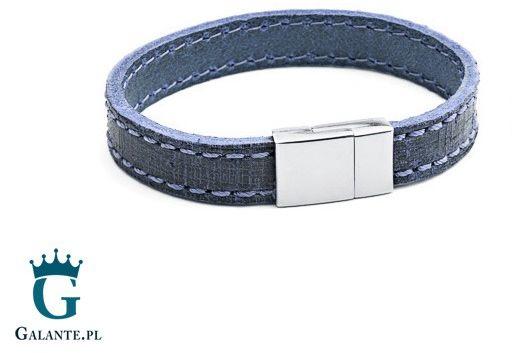 Niebieska skórzana bransoleta tx234
