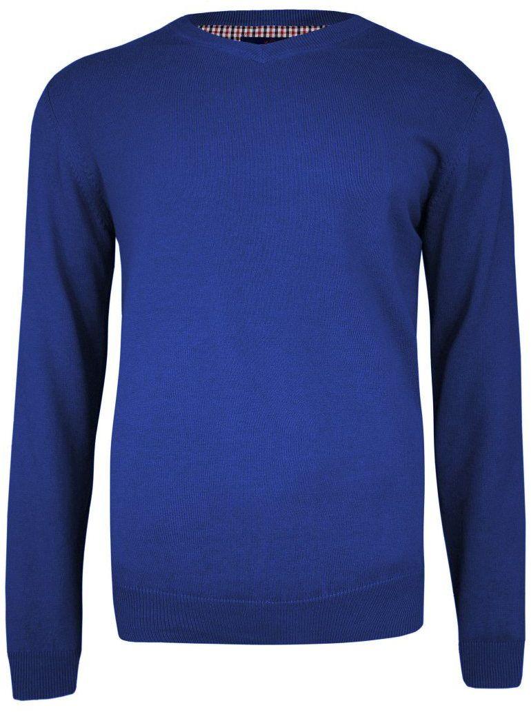 Sweter Chabrowy w Serek (V-neck), Klasyczny -Adriano Guinari- Męski, Niebieski SWADGAW20classicblue
