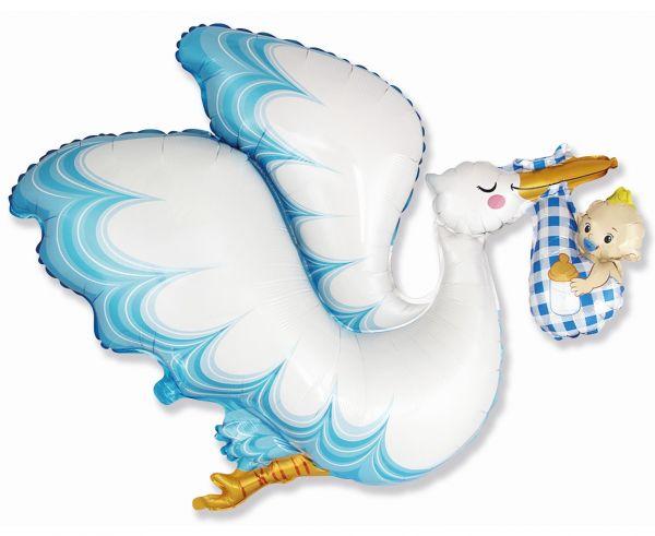 Balon foliowy bocian Baby Shower niebieski 60cm 1 sztuka B901824
