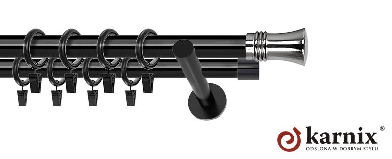 Karnisze nowoczesne NEO podwójny 19/19mm Capri czarny
