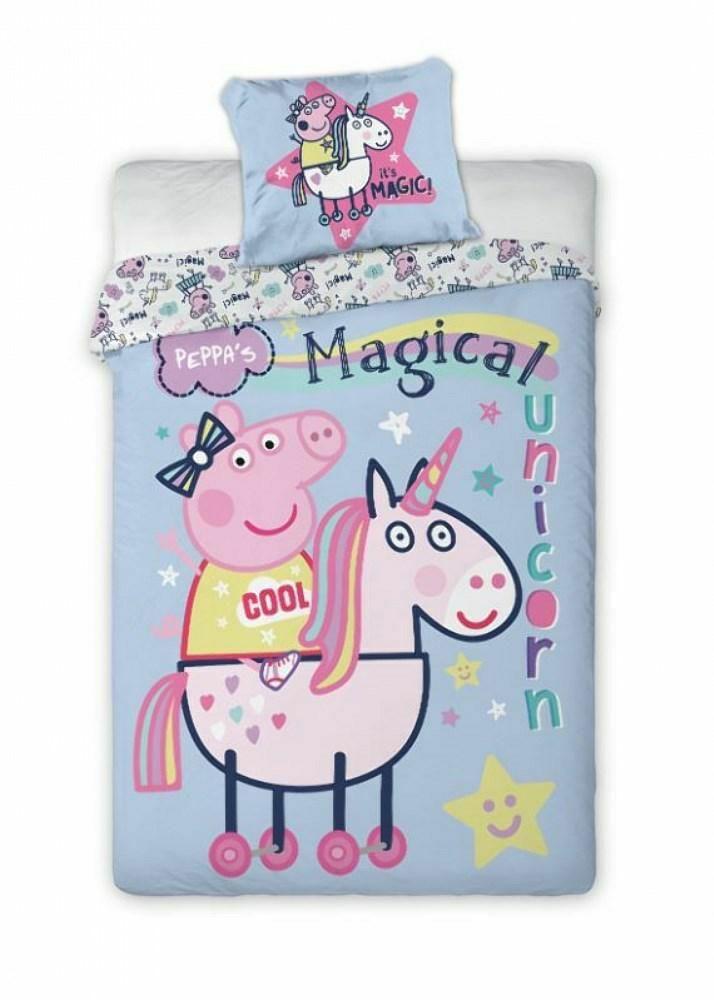 Pościel bawełniana 140x200 Świnka Peppa 1337 jednorożec unicorn niebieska poszewka 70x90