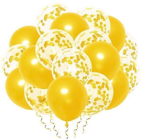 Zestaw złotych balonów mix konfetti 30cm 20 sztuk 400879