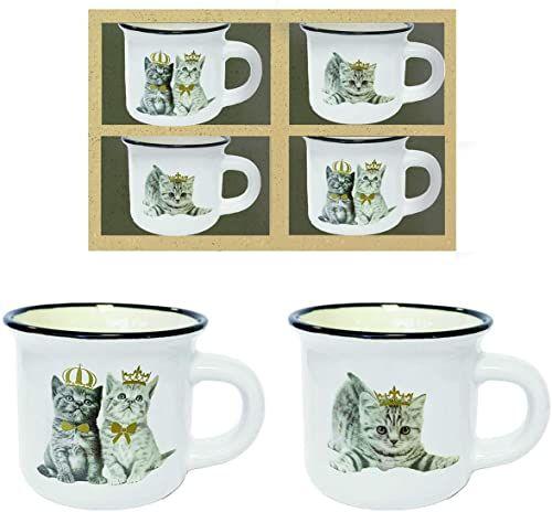 Dekoracja bistrot partia 12 pudełek 4 kubki koty, wys. 5 Ø 6 cm