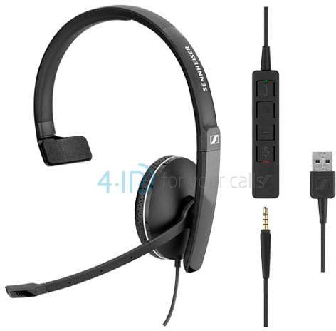 Sennheiser SC 135 USB słuchawka z mikrofonem do PC i telefonu komórkowego (złącze USB-A / jack 3.5mm)