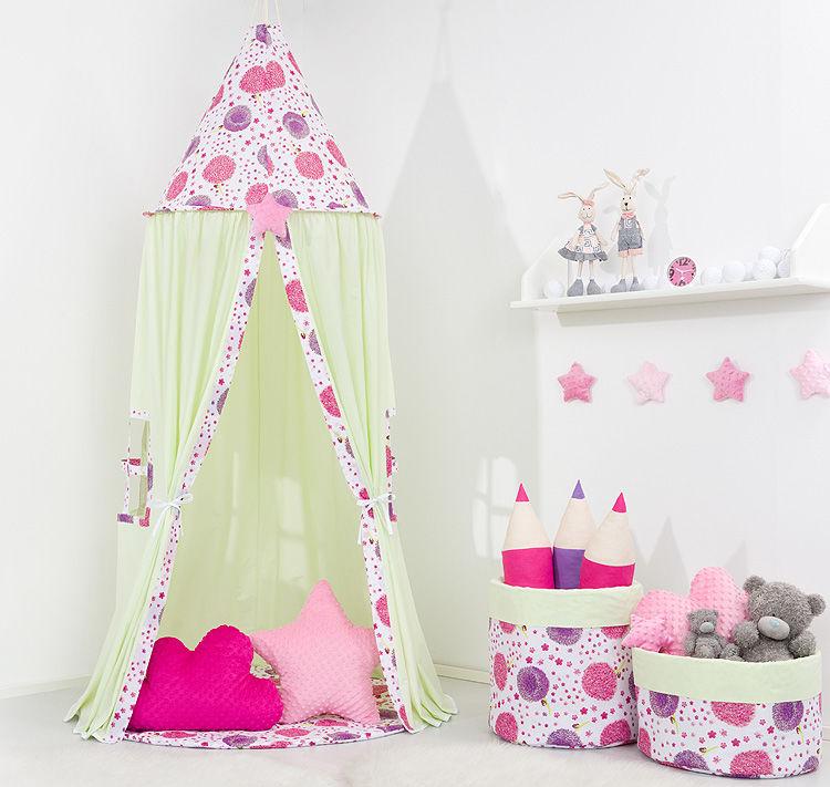 Namiot wiszący dla dzieci Seledynowy / dmuchawce róż