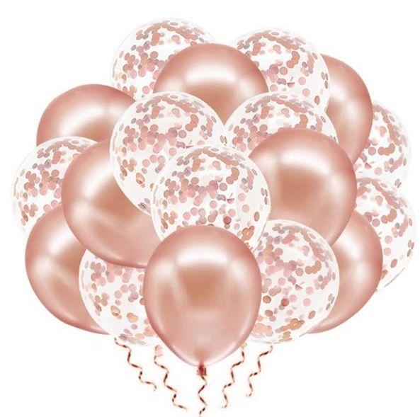Zestaw balonów rosegold mix konfetti 30cm 20 sztuk 400877