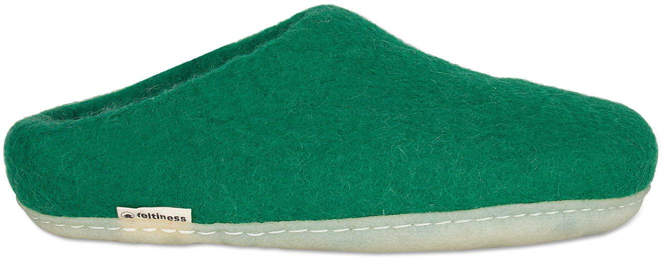 Paputy Zielone z podeszwą kauczukową - kapcie wełniane