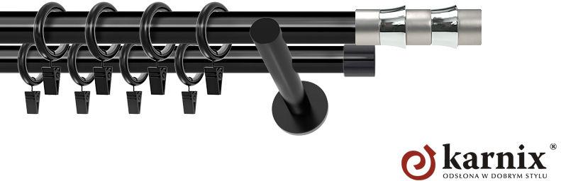 Karnisze nowoczesne NEO podwójny 19/19mm Fresno czarny