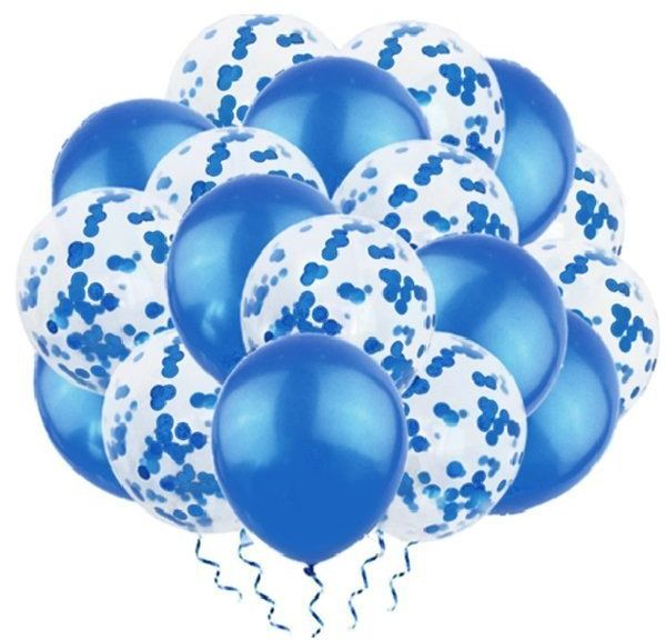 Zestaw niebieskich balonów mix konfetti 30cm 20 sztuk 400878