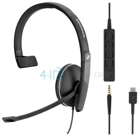 Sennheiser SC 135 USB słuchawka z mikrofonem do PC i telefonu komórkowego (złącze USB-C / jack 3.5mm)