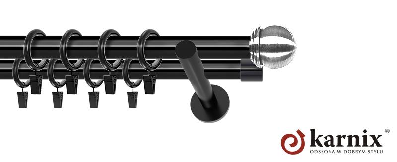 Karnisze nowoczesne NEO podwójny 19/19mm Gałka Max czarny
