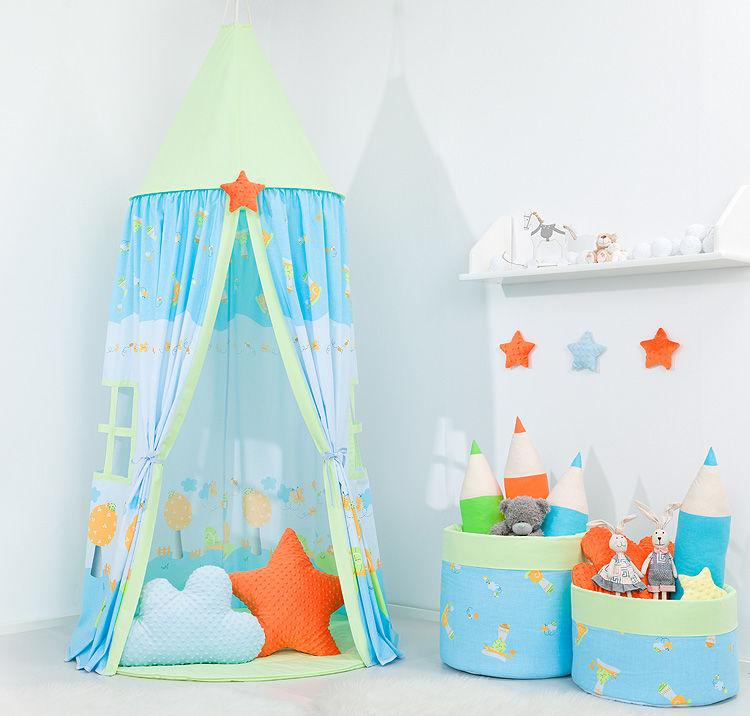 Namiot wiszący dla dzieci Ślimaki w błękicie / zielony