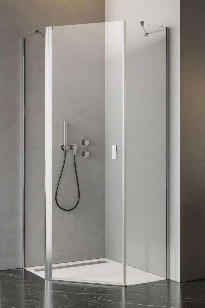 Kabina asymetryczna pięciokątna Radaway Nes PTJ 80 x 90 cm drzwi lewe na krótkiej ściance, szkło przejrzyste wys. 200 cm 10052000-01-01L/10052600-01-01