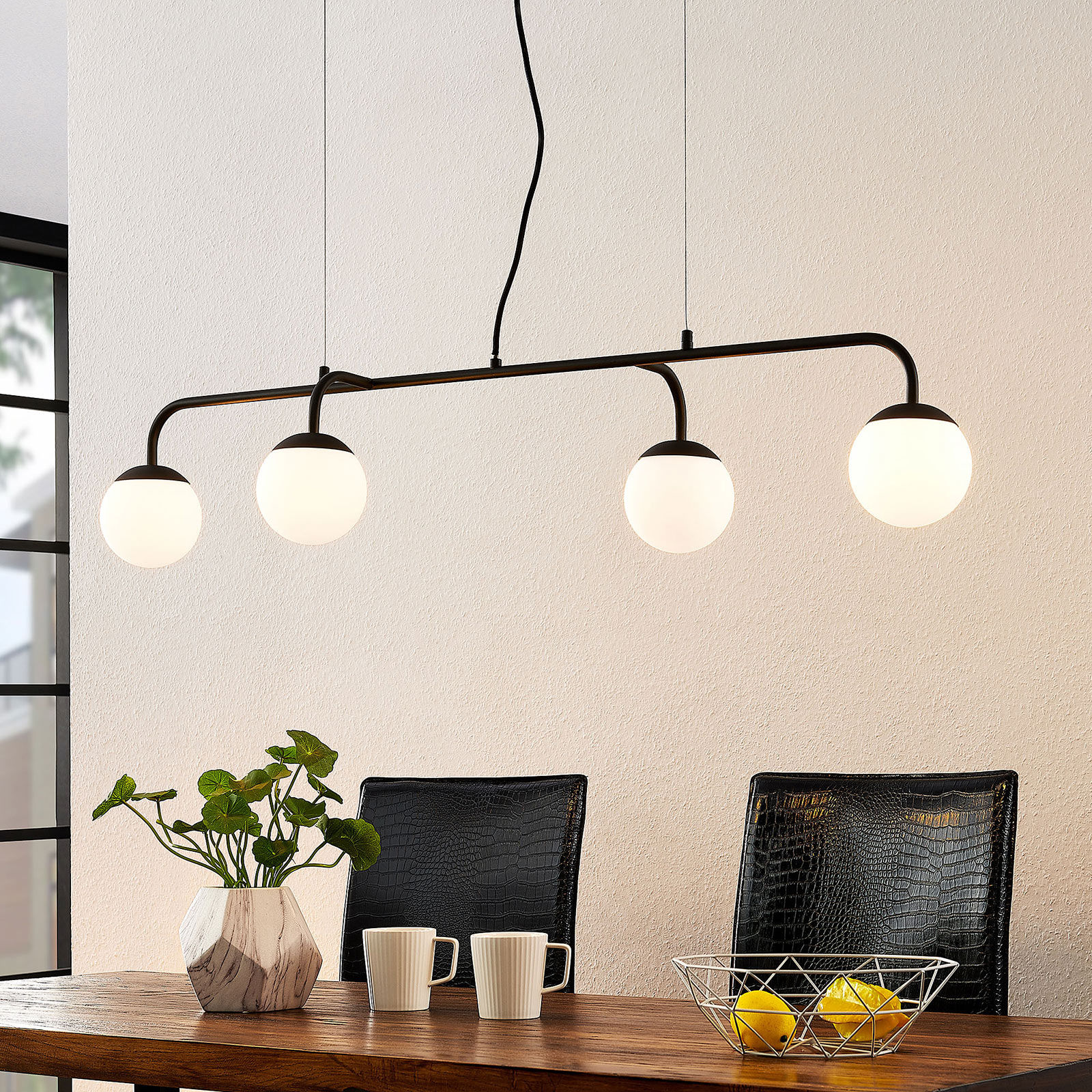 Lucande Rama lampa wisząca LED szklane klosze