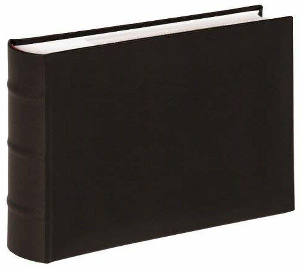 walther design ME-373-B klasyczna sztuczna skóra notatki wsuwany album z prążkowanym grzbietem, na 100 zdjęć 6 x 8 cali (15 x 20 cm), czarny