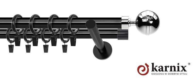 Karnisze nowoczesne NEO podwójny 19/19mm Kula Elegant czarny