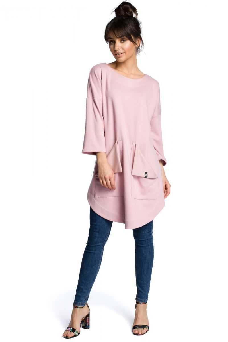 B064 Sukienka tunika pudrowa