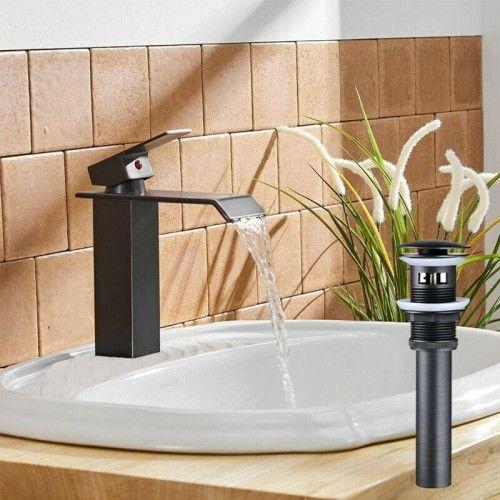 Zestaw: Bateria umywalkowa z wodospadem +Korek umywalkowy zamykalny z przelewem, czarny