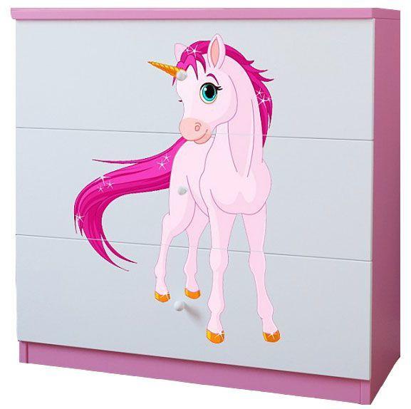 Komoda dla dziewczynki z szufladami Happy 10X mix - biało - różowa
