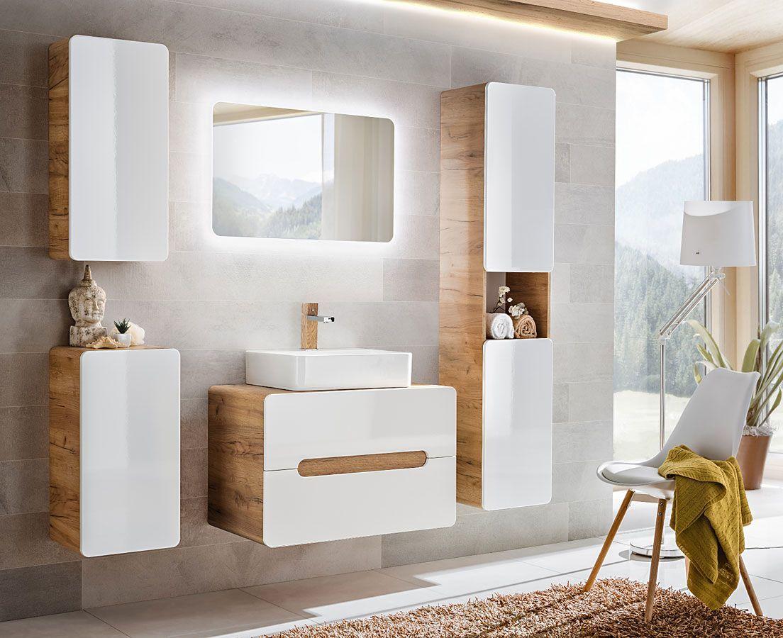 Komplet wiszących mebli łazienkowych Borneo 4Q 80 cm - Biały