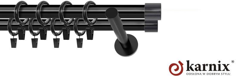 Karnisze nowoczesne NEO podwójny 19/19mm Luna czarny