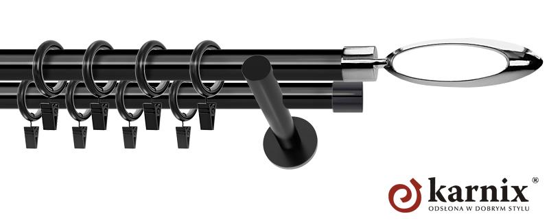 Karnisze nowoczesne NEO podwójny 19/19mm Mirella czarny