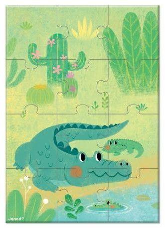 Janod - Mini puzzle do kolekcjonowania Zwierzątka 12 el. 3+