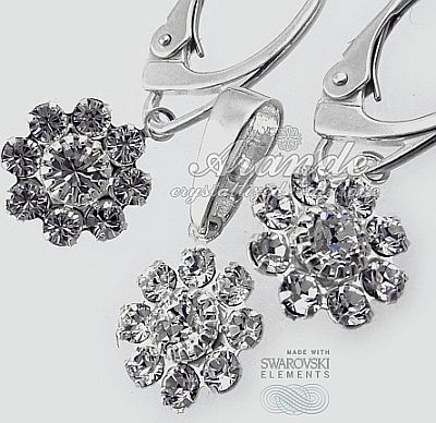 Nowe Swarovski Kolczyki+Wisiorek Crystal Flow Lux