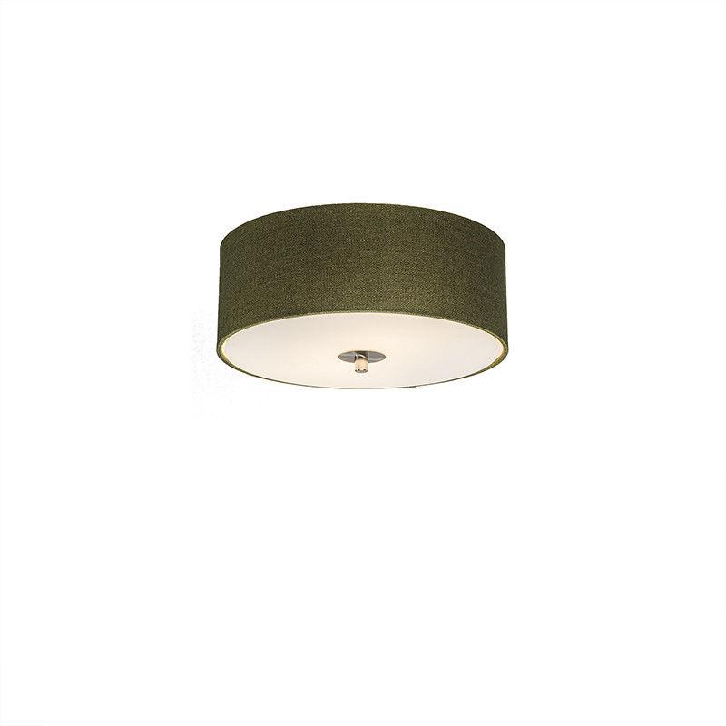 QAZQA Klasyczny plafon zielony 30cm - Drum Jute