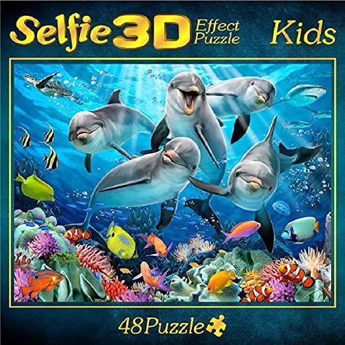 Selfie 3D Effect Puzzle Kids Motiv Delfin 48 Teile
