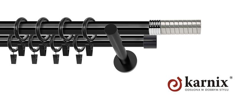 Karnisze nowoczesne NEO podwójny 19/19mm Optima czarny