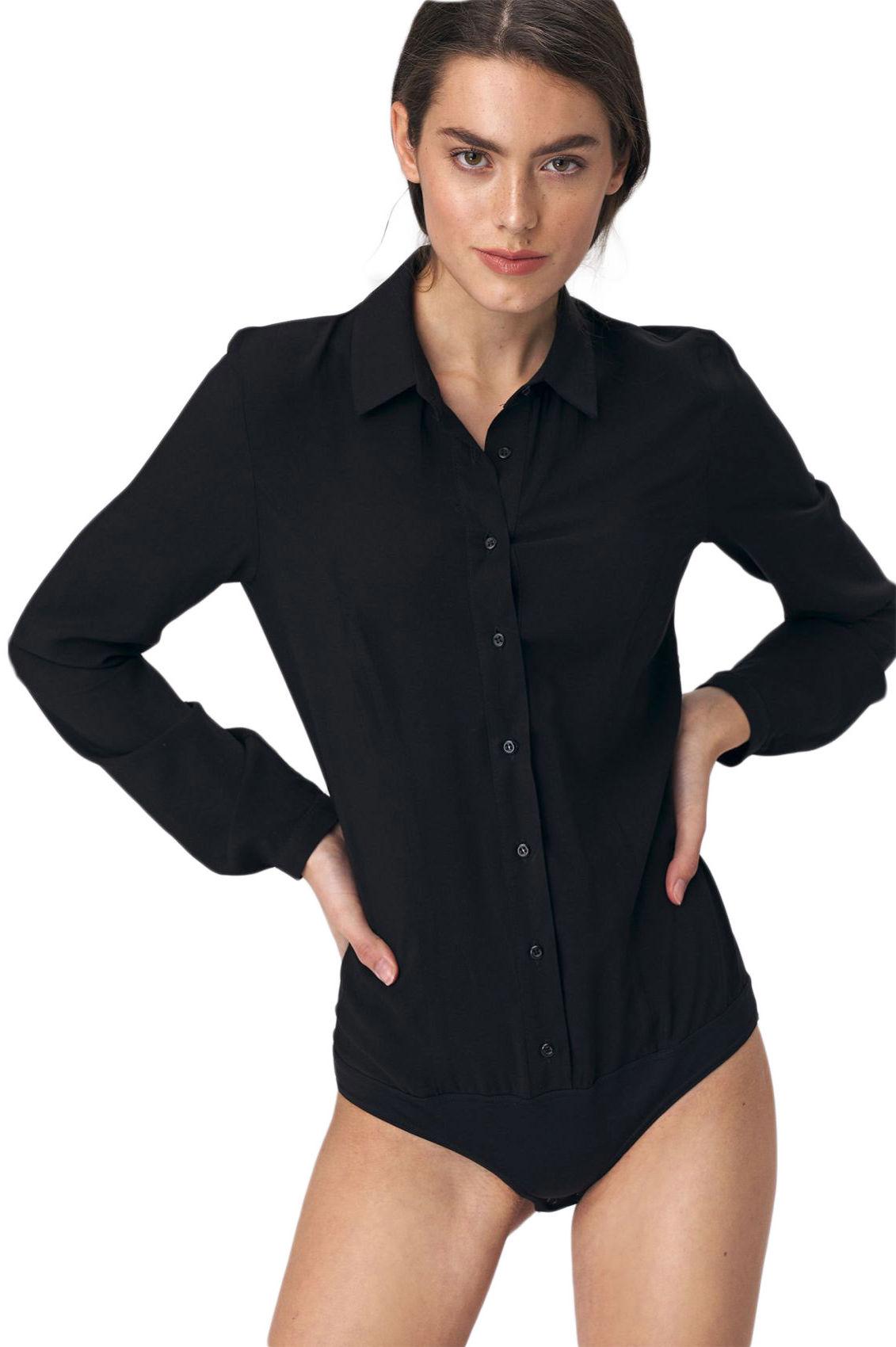Bluzka koszulowa body - czarna - B110