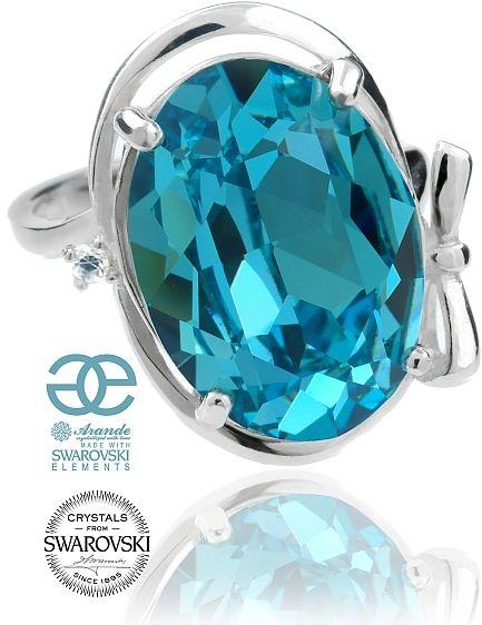 SWAROVSKI przepiękny pierścionek TURKUSOWY SREBRO