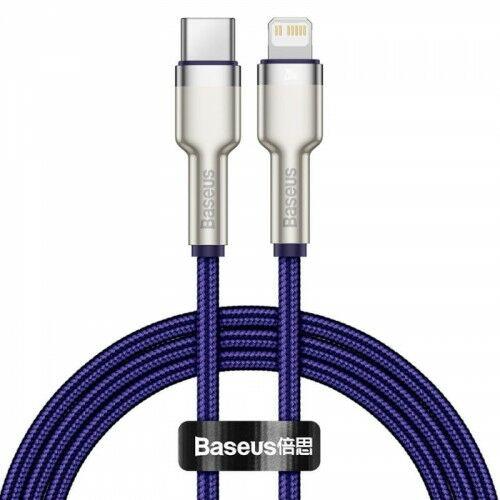 Kabel Baseus Cafule Metal USB-C do Lightning 20W 1m, fioletowy