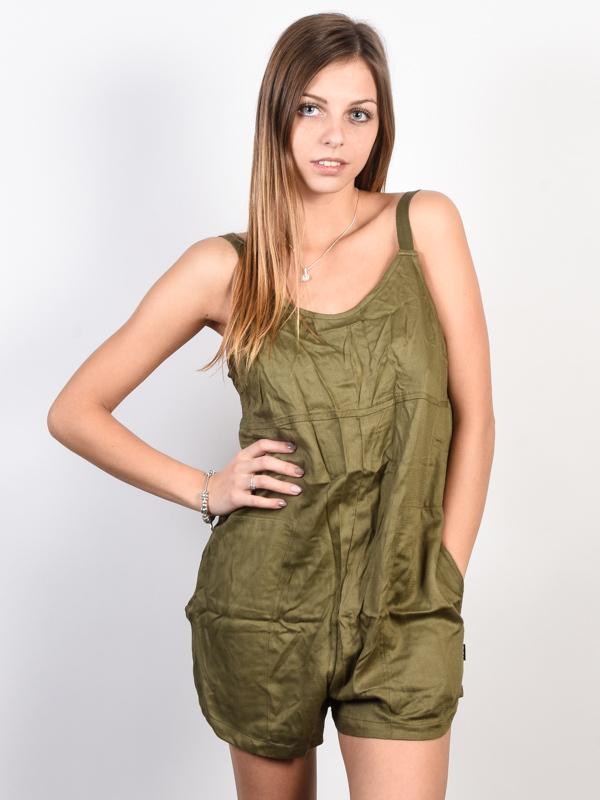 RVCA JURYS OUT BURNT OLIVE krótkie sukienki - S