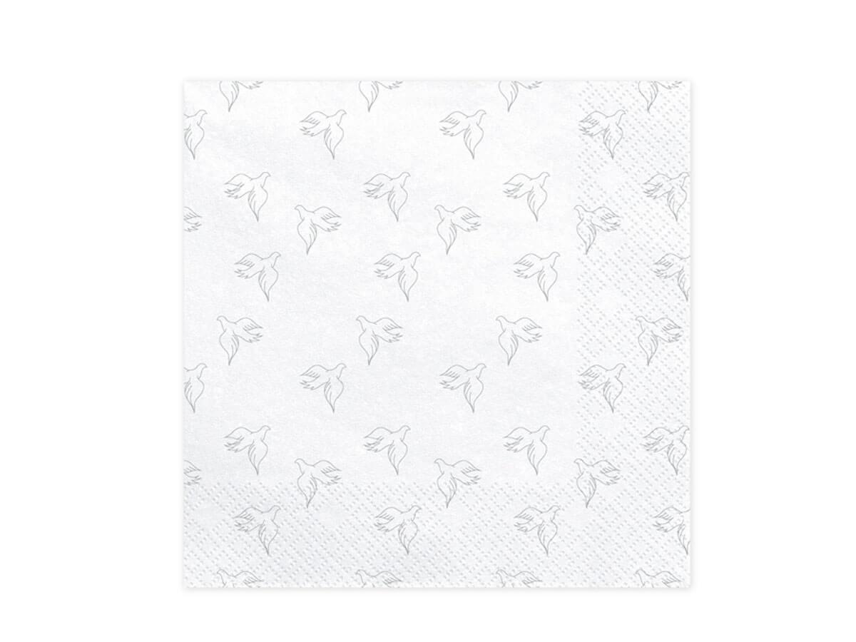 Serwetki 3 warst. 33x33 Gołębice białe 20 szt