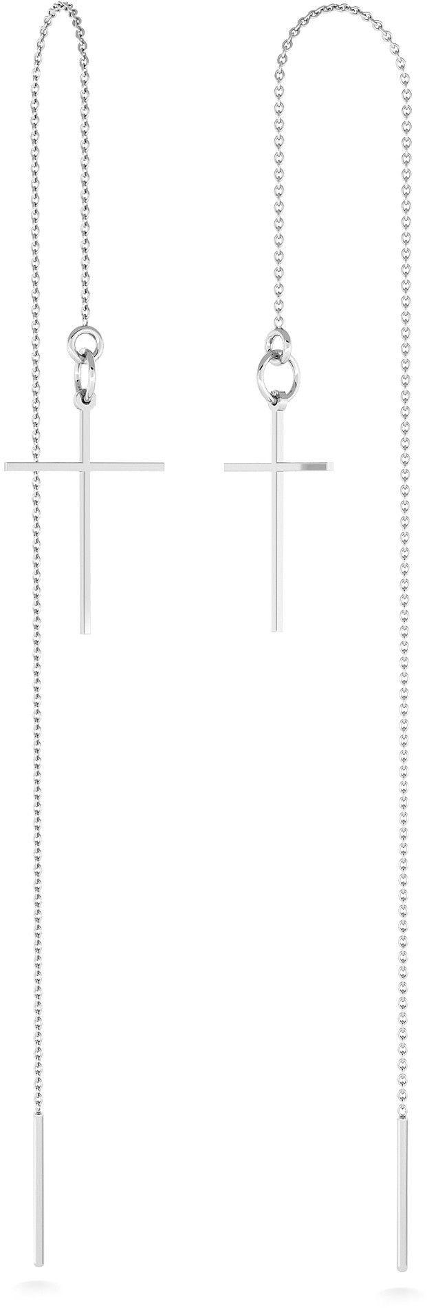 Srebrne kolczyki przewlekane z krzyżykiem, srebro 925 : Srebro - kolor pokrycia - Pokrycie platyną