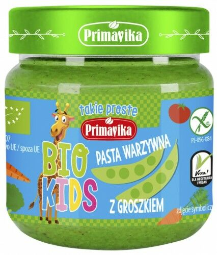 Pasta Warzywna z Groszkiem dla Dzieci KIDS BIO 160g - Primavika