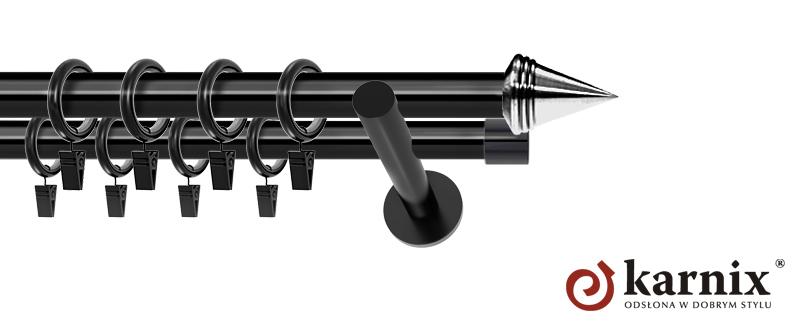 Karnisze nowoczesne NEO podwójny 19/19mm Stożek czarny