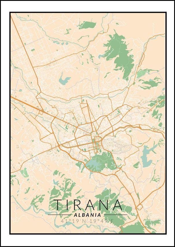 Tirana mapa kolorowa - plakat wymiar do wyboru: 40x60 cm
