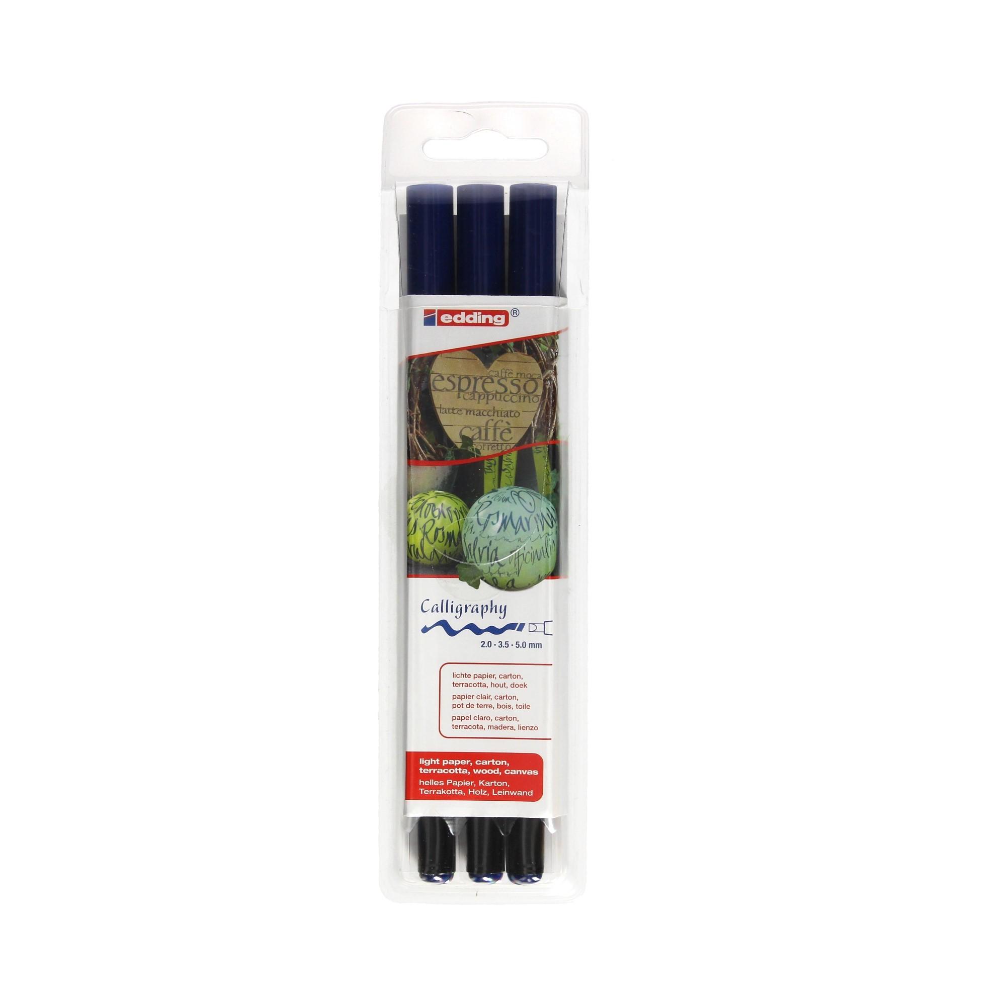 Pisaki do kaligrafii niebieskie 3 szt. - 2mm-3,5mm-5mm Edding 1255/3S