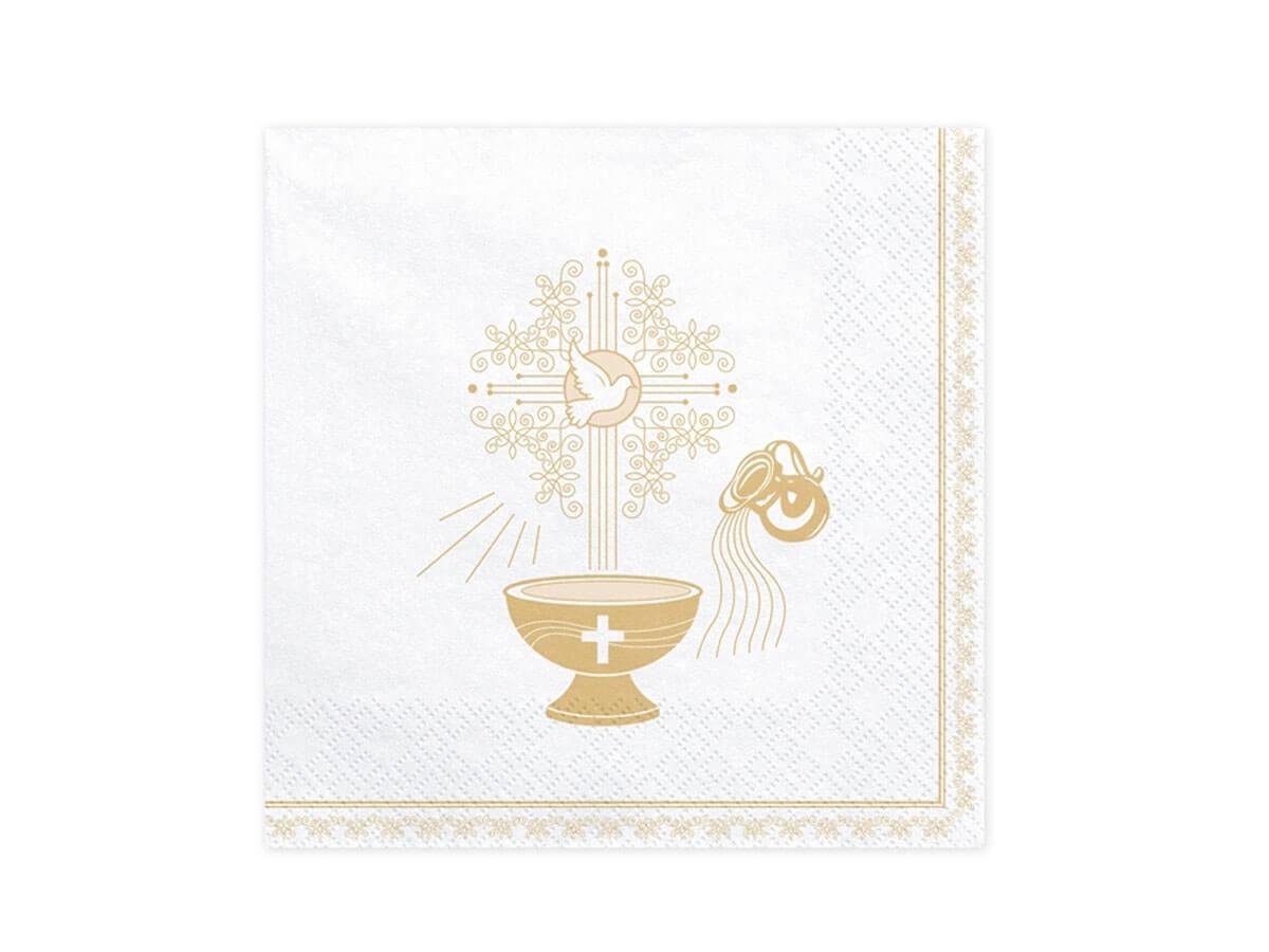 Serwetki Chrzest Święty 3 warst. 33x33 białe 20 szt