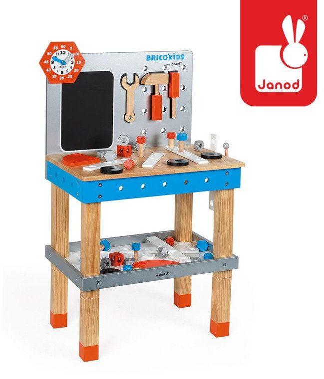 Stolik warsztatowy z akcesoriami Brico Kids, J06477Janod, zabawki dla chłopców