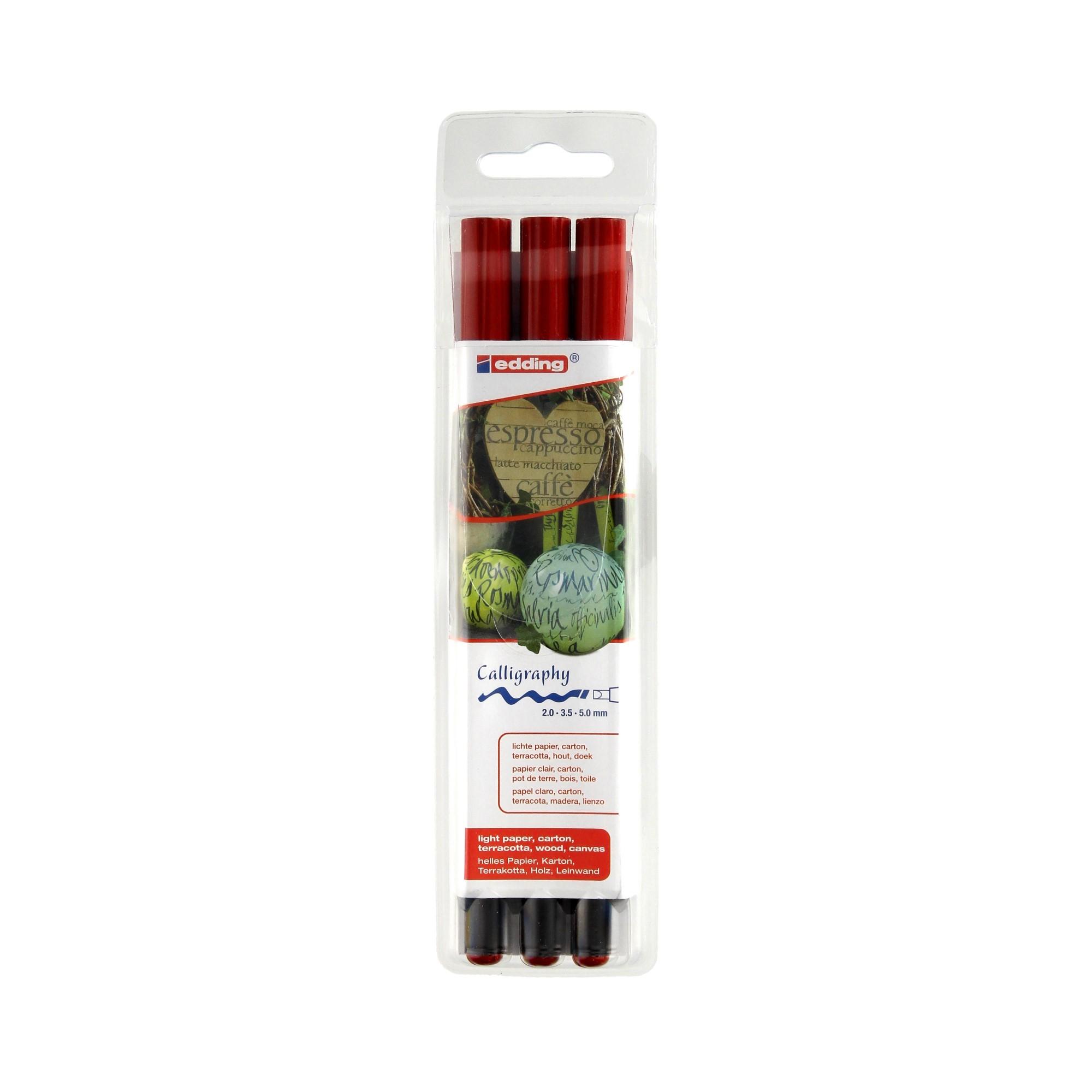 Pisaki do kaligrafii czerwone 3 szt. - 2mm-3,5mm-5mm Edding 1255/3S