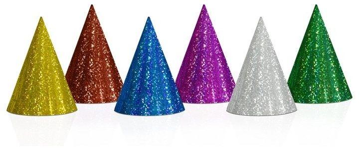Czapeczki urodzinowe holograficzne mix kolorów 20 sztuk CZAP20