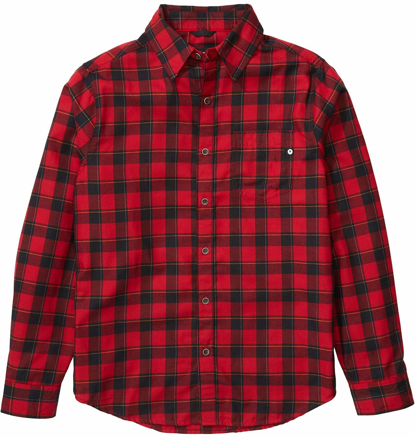 Marmot Bodega męska koszulka z długim rękawem, flanelowa, z długim rękawem, z ochroną przed promieniowaniem UV, oddychająca czerwony Dark Fire XL