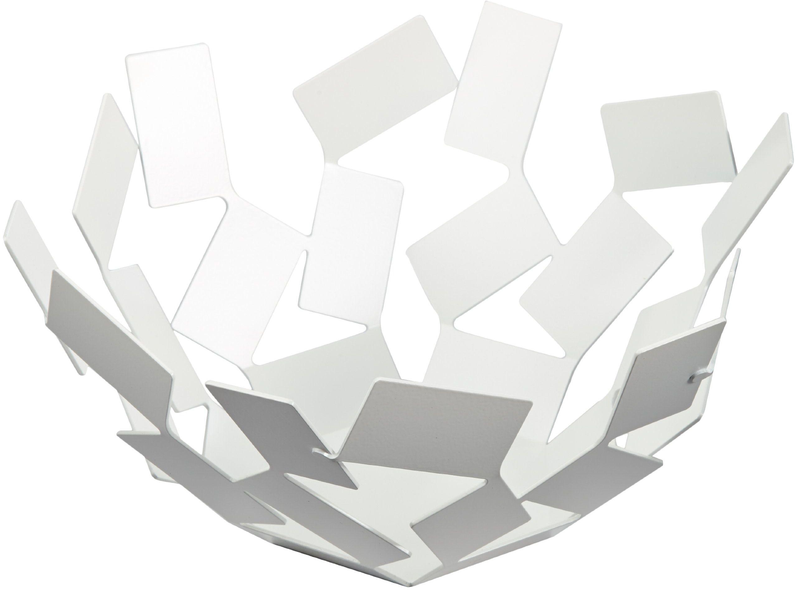 """Alessi """"La Stanza dello Scirocco"""", miska na owoce, biała, stal szlachetna 18/10, lakierowana na biało, 27,3 x 27,3 x 13 cm"""