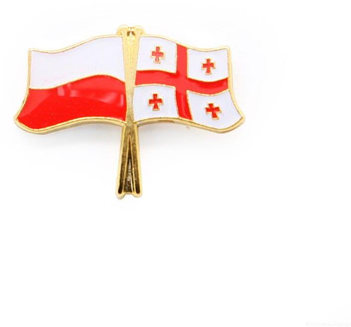 Flaga Polska - Gruzja , przypinka